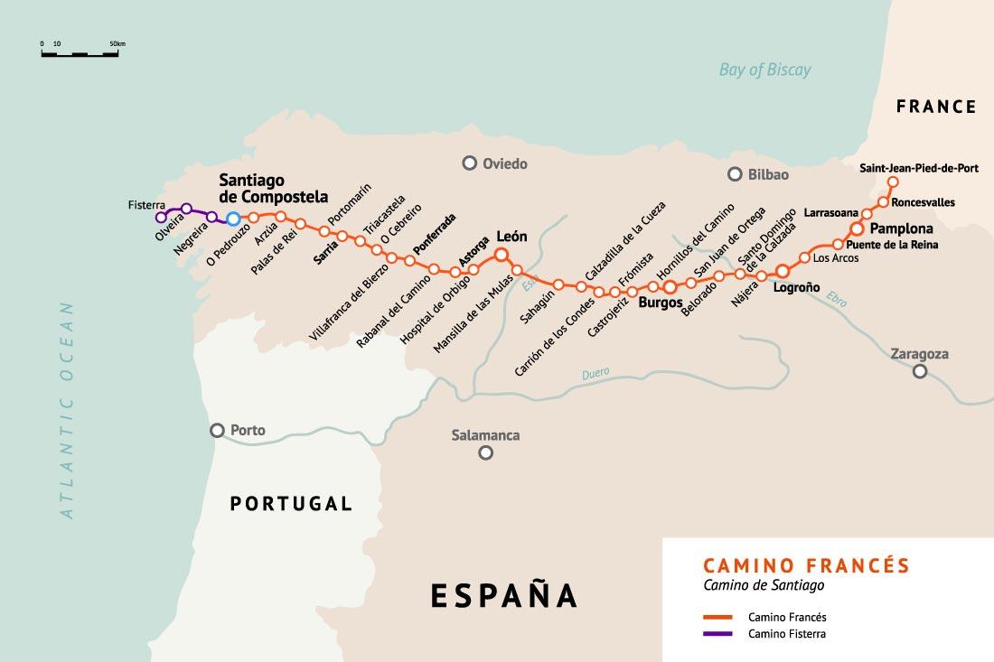 What is the Camino Francés?   Pygmy Elephant Camino De Santiago Frances Route Map on