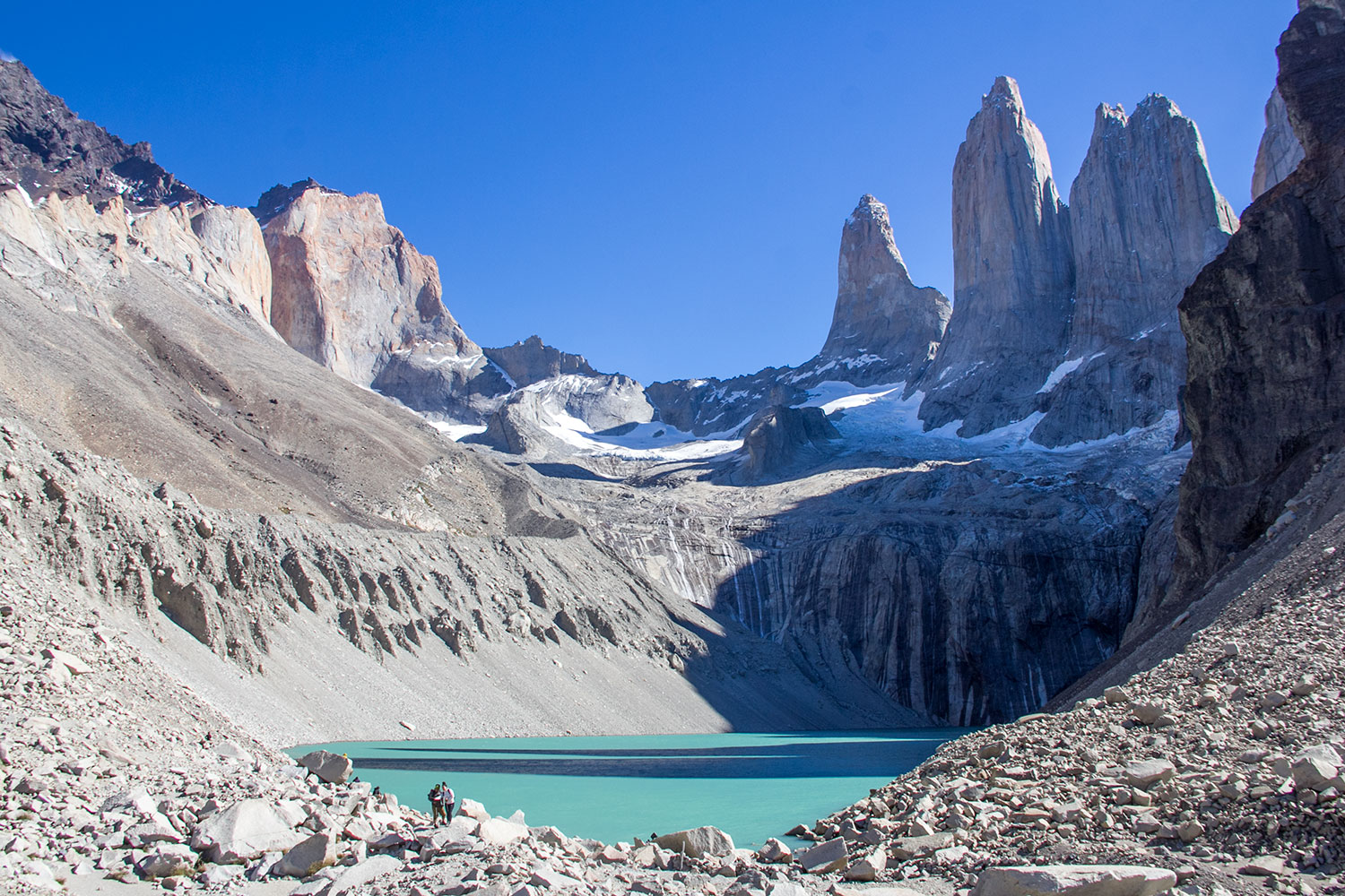 View of the three towers forming Torres del Paine.