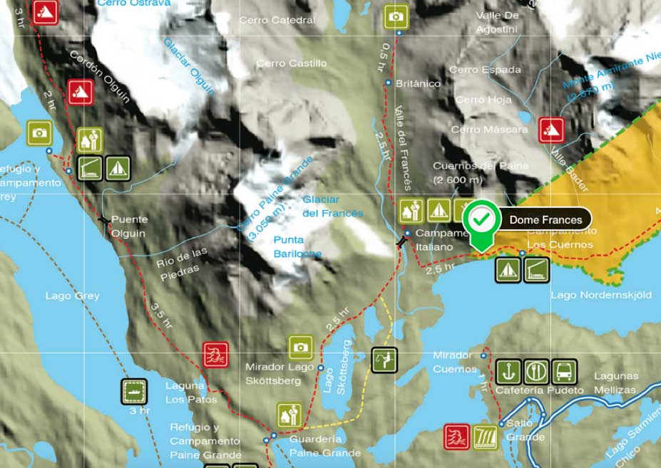 Valley Francés Hike Map - Torres del Paine