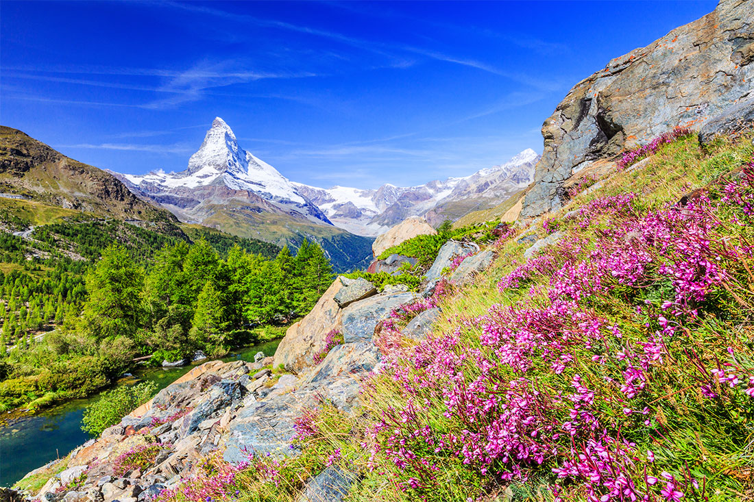 "A ""Toblerone view"" of the Matterhorn from Grindjisee, a possible destination for those spending extra time in Zermatt"